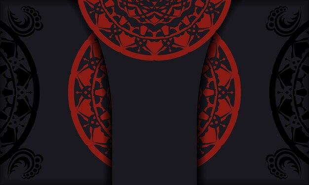 Cartolina nera con ornamenti vintage e posto per il tuo logo e testo. sfondo di design con ornamento d'epoca.