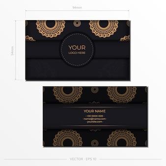 Biglietti da visita presentabili neri. ornamenti decorativi per biglietti da visita, motivi orientali, illustrazione.