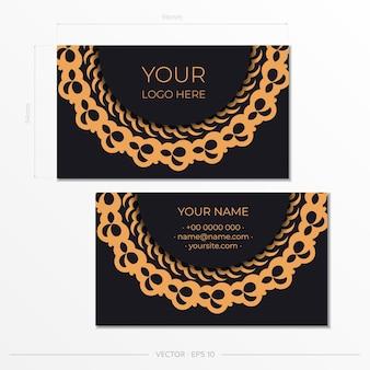 Biglietti da visita presentabili neri con biglietti da visita di ornamenti decorativi, motivo orientale, illustrazione.