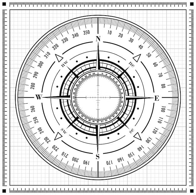 Rosa dei venti radar nera isolata su bianco.