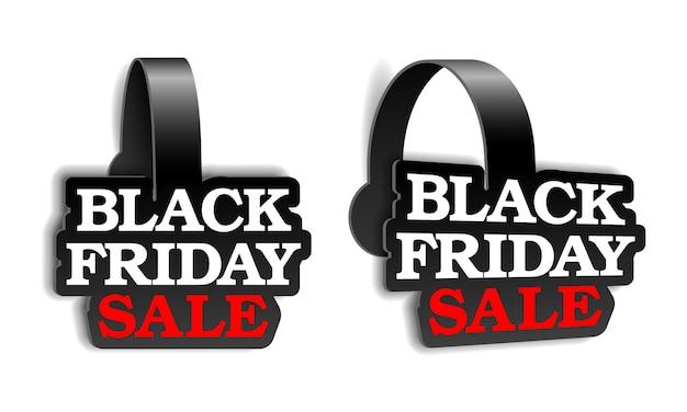 Wobblers pubblicitari neri realistici per la super vendita del black friday