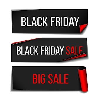 Nastro per banner di carta curva realistica nera per la super vendita del venerdì nero.