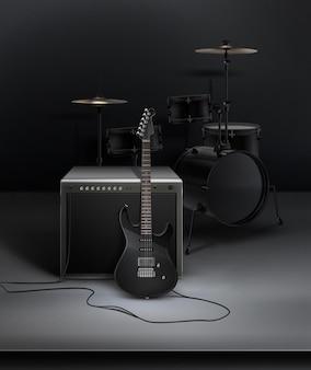 Guiltar elettrico realistico nero collegato alla dinamica con batteria in studio
