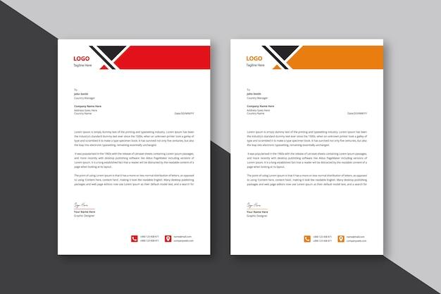 Carta intestata astratta nera e rossa