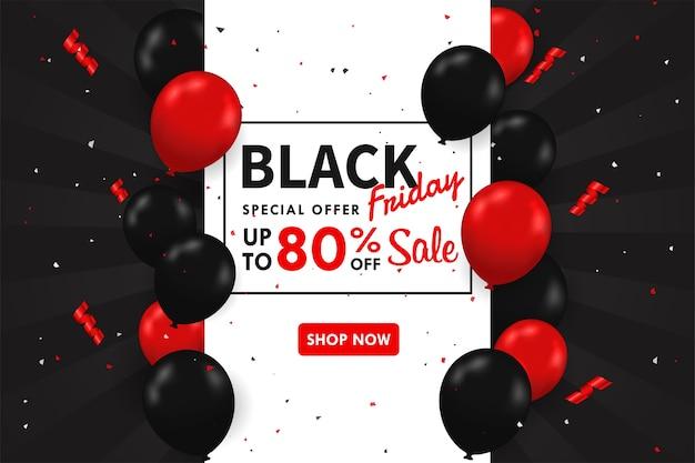 Palloncini neri e rossi che galleggiano sul lato della casella di testo speciale festivo di vendita blackfriday.