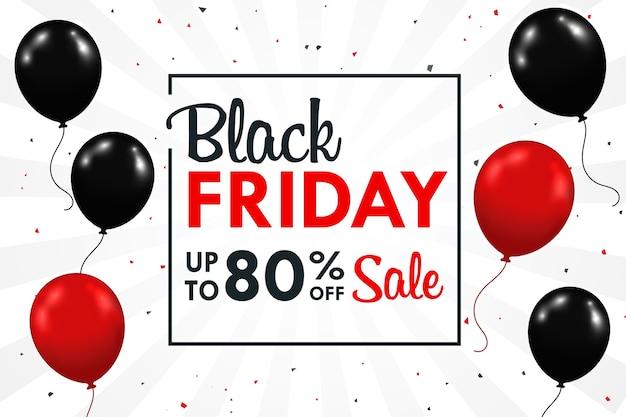 Palloncini neri e rossi che fluttuano lateralmente con casella di testo promozionale blackfriday durante il fine settimana