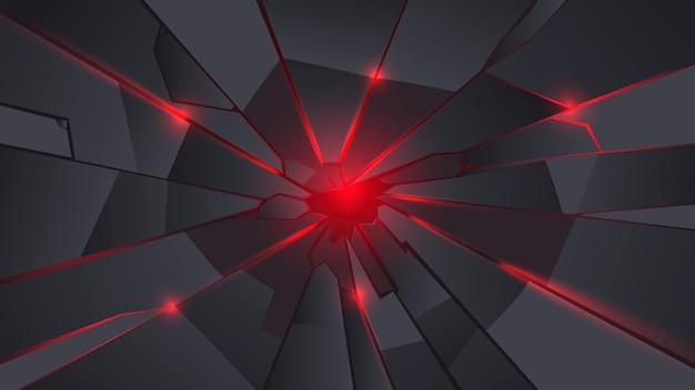 Sfondo nero e rosso in metallo crepa