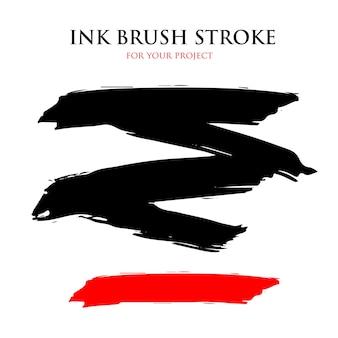 Vernice nera e rossa pennellata inchiostro, zig zag e linea pennello lineare, desi artistico sporco