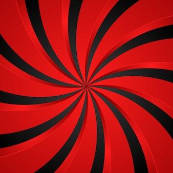 Sfondo radiale a spirale nera e rossa