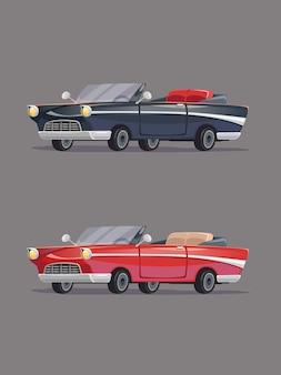 Cadillac vintage nera e rossa. set di auto retrò. stile cartone animato.
