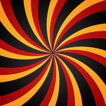 Sfondo radiale a spirale nero, rosso e giallo. sfondo di vortice ed elica.