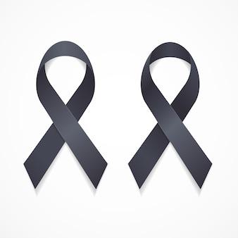 Nastro nero lutto e melanoma segno set simbolo di supporto. illustrazione vettoriale
