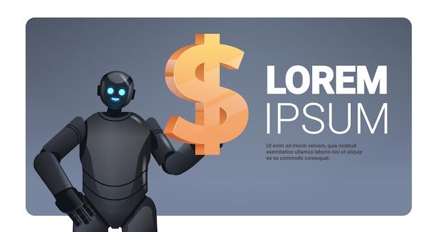 Robot nero che tiene l'icona del dollaro risparmiando denaro e ottenendo profitti investimenti ad alto reddito guadagnare crescita finanziaria intelligenza artificiale