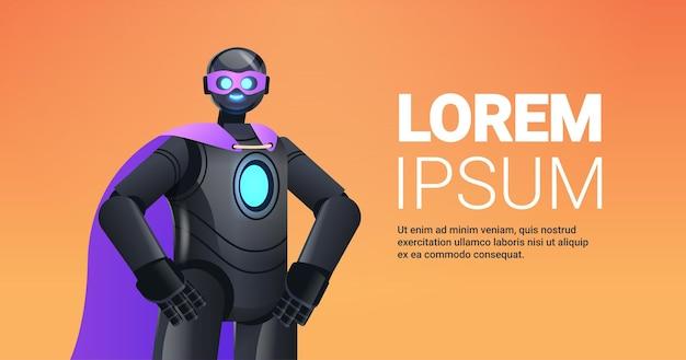 Robot nero che indossa un mantello da super eroe intelligenza artificiale