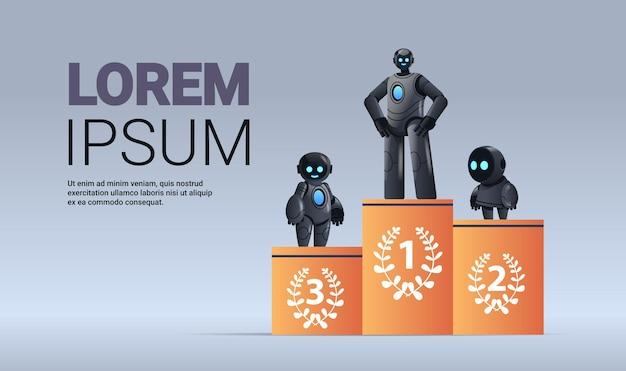 Robot neri in piedi sul piedistallo vincendo la competizione al primo posto intelligenza artificiale