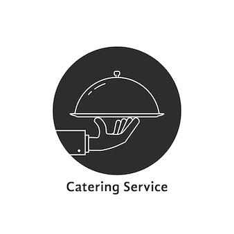 Logo del servizio di catering rotondo nero. concetto di presentazione di nozze, banchetto, gustoso, gustoso, caldo cloche, vendita di eventi. illustrazione vettoriale di design grafico di marca moderna tendenza stile piatto su sfondo bianco