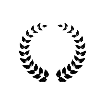 Corona nera rotonda di foglie di alloro per la decorazione di premi