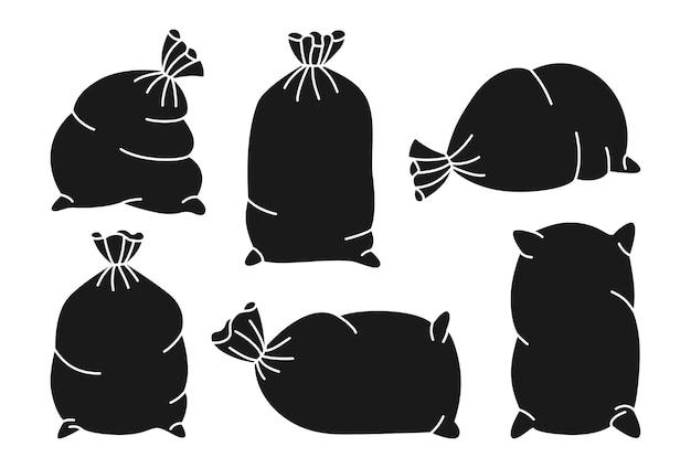 Set di sacchi neri. collezione di tela da imballaggio