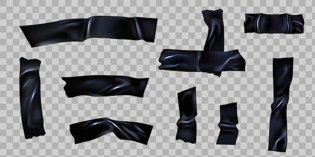 Scotch nero. nastro adesivo strappato con pieghe. strisce di nastro adesivo in plastica incrociate per la correzione. insieme di vettore di pezzi appiccicosi strappati 3d realistici. striscia di illustrazione appiccicosa, bastoncino di scotch strappato