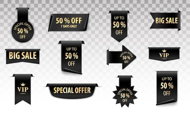 Banner a scorrimento nero con testo di grande vendita su uno sfondo trasparente. set di tag di vendita.