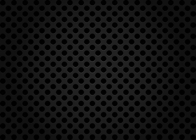 Sfondo nero senza soluzione di continuità con i cerchi. modello perforato, griglia, foglio, celle.