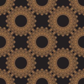 Modello senza cuciture nero con ornamenti vintage. ottimo per sfondi, stampe, abbigliamento e tessuti. illustrazione vettoriale.