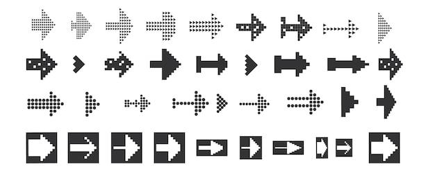Set di icone nere icona freccia illustrazione vettoriale collezione di puntatori vettoriali