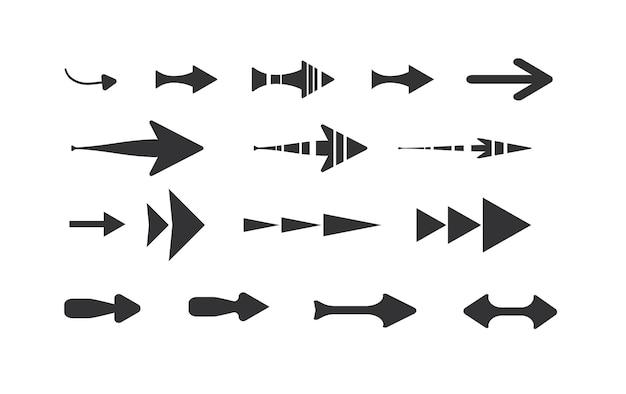 Set di icone nere icona frecciaillustrazione vettoriale collezione di puntatori vettoriali
