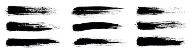 Set di vernice nera, pennello inchiostro, pennellate