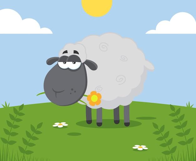 Personaggio dei cartoni animati di pecora nera con un fiore. illustrazione design piatto con sfondo