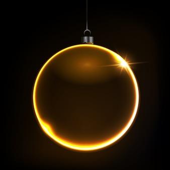 Sfondo di natale lucido nero con pallina color oro, illustrazione.