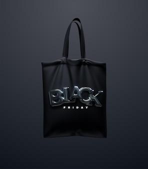 Borsa shopping nera con insegna black friday