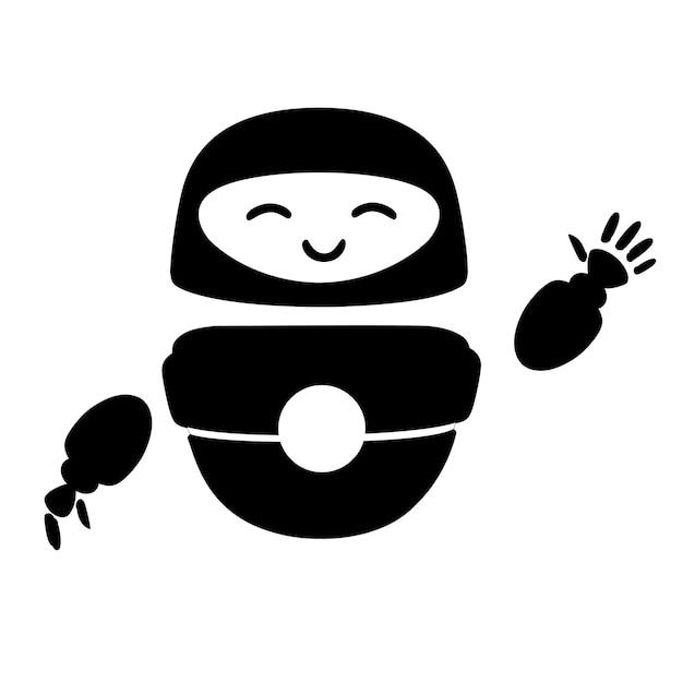 Siluetta nera carino bianco moderno robot levitante agitando la mano e con la faccia felice vettore
