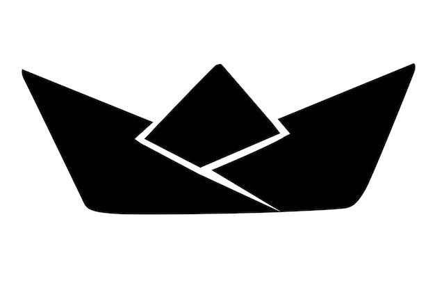 Sagoma nera piegata barca di carta piatto illustrazione vettoriale isolato su sfondo bianco