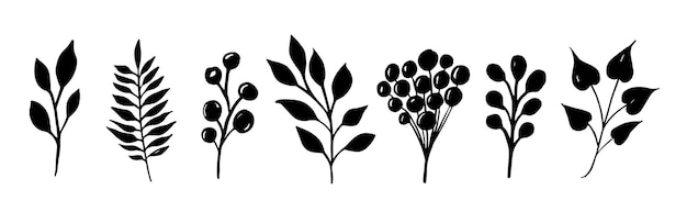 Set di rami di foglie di sagoma nera