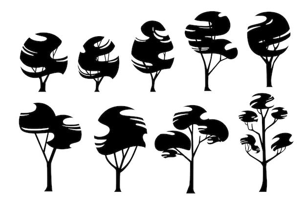 Insieme della siluetta nera dell'illustrazione piana di vettore degli alberi stilizzati moderni astratti isolati su fondo bianco.