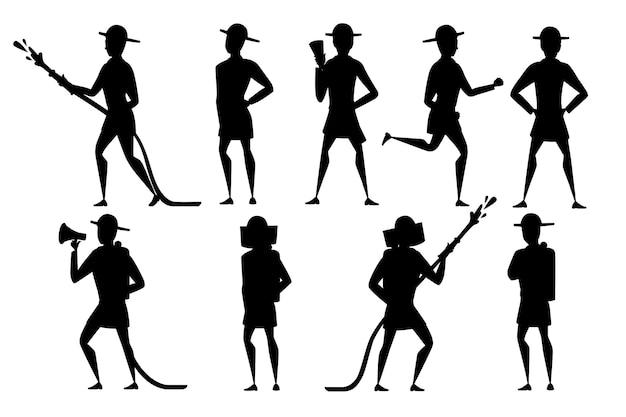 Set silhouette nera di vigile del fuoco maschio adulto in piedi a terra indossando una forma ignifuga