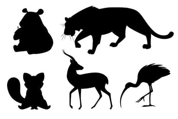 Insieme della siluetta nera di diversi animali del fumetto design piatto illustrazione vettoriale isolato su sfondo bianco simpatico animale selvatico.