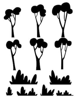Set silhouette nera di alberi piatti e cespugli piatti illustrazione vettoriale su sfondo bianco
