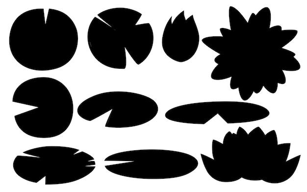Insieme della siluetta nera dell'illustrazione piana di vettore delle parti del loto del giglio su fondo bianco