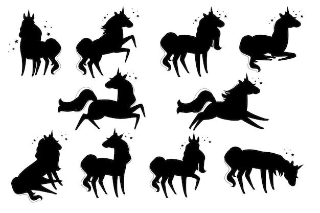 Set di silhouette nere di animali mitici magici dal design animale dei cartoni animati di unicorno da fiaba