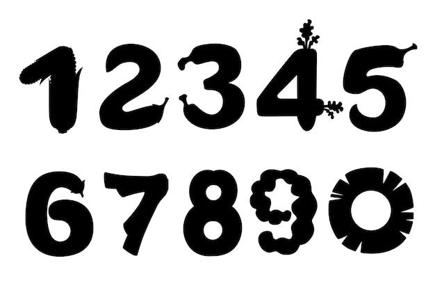 Silhouette nera set di numeri stile cibo cartone animato design piatto illustrazione vettoriale isolato su sfondo bianco.