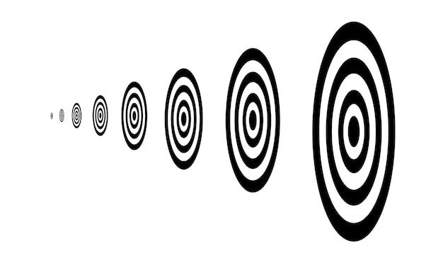 Siluetta nera obiettivi in una riga piatta illustrazione vettoriale isolato su sfondo bianco.