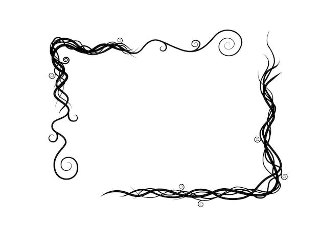 I rami selvaggi astratti della pianta di vite della siluetta nera incorniciano l'illustrazione piana di vettore