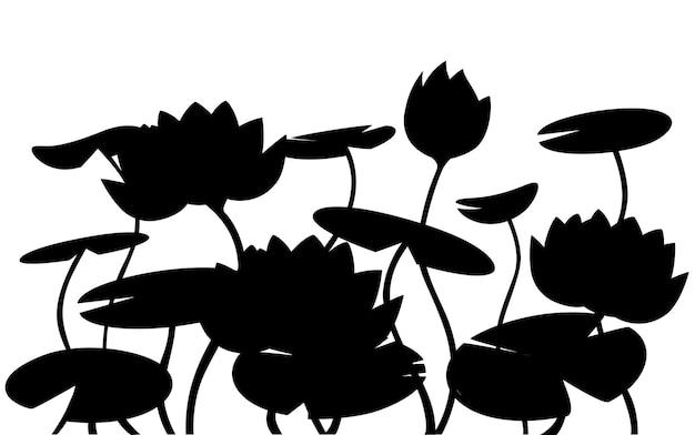 Fiore rosa di loto della ninfea della siluetta nera con l'illustrazione piana di vettore delle foglie verdi su fondo bianco