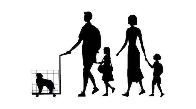 Sagome nere di famiglia con bagaglio, cane in gabbia e borsetta isolato su sfondo bianco.