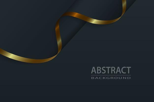 Sfondo di lusso in seta nera con elementi in oro