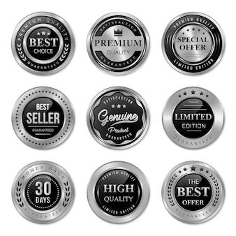 Collezione di badge ed etichette in metallo nero e argento