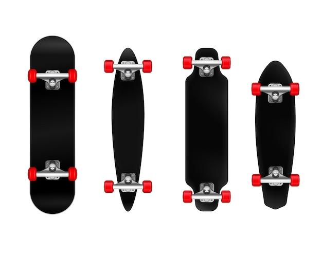 Skateboard neri con ruote rosse di diverse dimensioni e forma realistica insieme isolato
