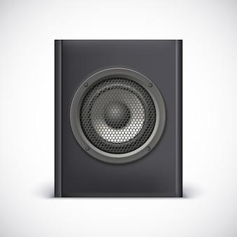 Altoparlante sonoro nero su sfondo bianco. illustrazione vettoriale per il tuo design.